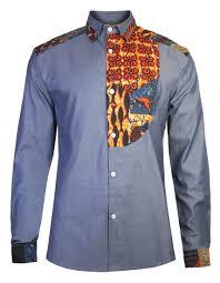 African Print Men S Shirt Designs Mens African Print Shirt Slim Fit Half Bib Front Detail