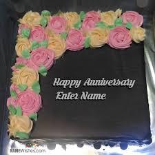 Happy Wedding Anniversary Chocolate Cake With Name