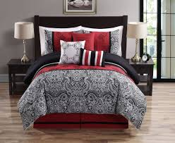 red white and black bedding 7 pc comforter set w red white and black pillows