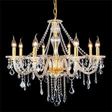 curtain gold finished 8 light crystal chandelier hanging pendant