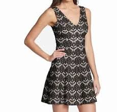 Kensie Clothing Size Chart Details About Kensie Womens Dress Black Nude Size 10 V Neck Bonded Lace A Line 108 237