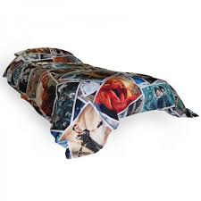 photo montage duvet cover on a bed
