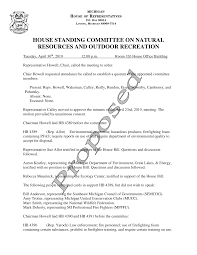 HOUSE STANDING COMMITTEE ON NATURAL RESOURCES AND OUTDOOR RECREATION