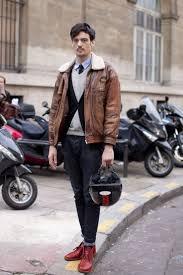 men s brown leather er jacket black cardigan grey v neck sweater light blue long sleeve shirt men s fashion lookastic com