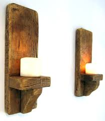 shabby chic wall sconces pair of rustic solid wood handmade sconce candle holder white for candles