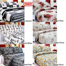 3 pce 280tc easy care polyester cotton printed quilt cover set queen king