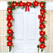Garland Red Light Camera Ticket Dearhouse 6 5ft Lighted Poinsettia Christmas Garland With Red Berries And Holly