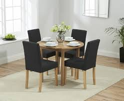 mark harris promo solid oak round drop leaf extending dining set with 2 maiya black chairs