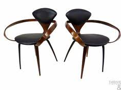 pair of norman cherner mid century modern pretzel dining arm chairs for plycraft