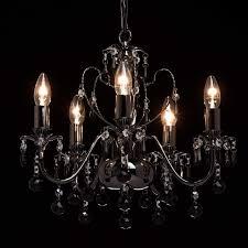 Eleganter Klassischer Kronleuchter Kerzen 5 Armig Nickelfarbiges Metall Glas Kristallkugeln Schwarz Klar 105cm Hoch Durchmesser 45cm Wohnzimmer
