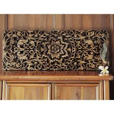 hand carved lotus wall art panel