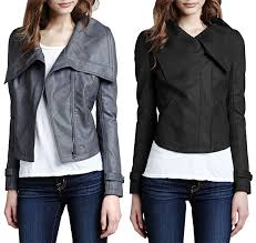 cusp by neiman marcus faux leather shawl collar jacket in grey and