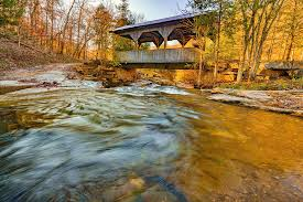 Boxley Valley Arkansas Covered Bridge and Adds Creek in Autumn Photograph  by Gregory Ballos
