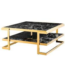 sena coffee table gold finish and black marble for