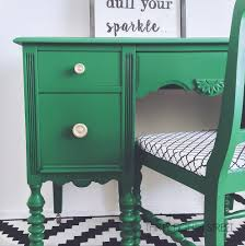 green painted furniture. Milk Paint, General Finishes, Emerald Green, Painted Desk, Chair, Before Green Furniture