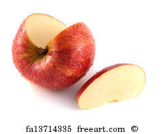 red apple slice. apple slice art print - isolated sliced red with one (wet)