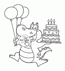 Happy Alligator With Birthday Cake Coloring