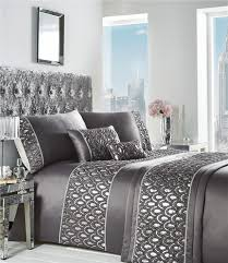 king size duvet set grey charcoal silver sequin soft luxury quilt cover bed set