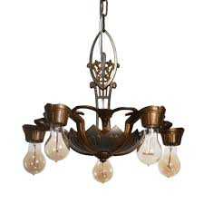 antique art deco two tone chandelier by lincoln