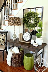 tables for foyer. Exciting Entryway Tables For And Foyer Design: Wall Mirror Wreath With Buffet Table