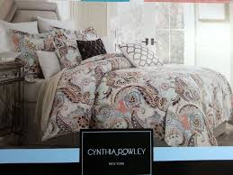paisley comforter set queen cynthia rowley aqua lime green peach 3pc king duvet shams 18