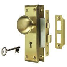 satin br victorian door mortise lock set