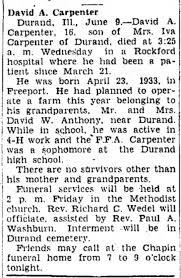 David Anthony Carpenter Obituary - 9 Jul 1949 - Freeport Journal-Standard,  Illinois, Page 23 - Newspapers.com