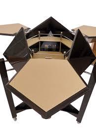Barschrank Art Deco Lackiertes Holz Leder Schwarz