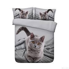3d printed grey adorable cat bedding sets twin full queen king cal king dovet cover set pillow shams comforter set bedroom set boy children king size
