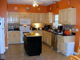 Orange And White Kitchen Interior Awesome Orange Kitchen Wall Paint With Wood Kitchen Set