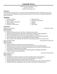 sales associate resume example sample of the resume