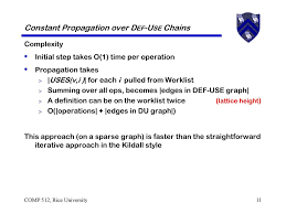Constant Propagation In Compiler Design Definition Use Chains Ppt Video Online Download