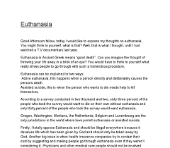euthanasia argument essay euthanasia an argument for euthanasia term paper 15498
