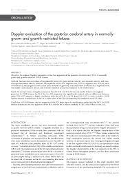 Mca Doppler Normal Values Chart Pdf Doppler Evaluation Of The Posterior Cerebral Artery In