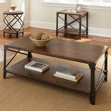 Steve Silver Winston Round Distressed Tobacco Wood and Metal End Table    Hayneedle