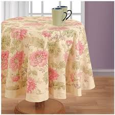 printed round table linen cover cloth in cotton with dia 72 inches pink 6 seater by decronn souq uae