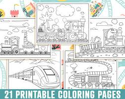 These coloring pages may also feature animated train characters from children's tv shows such as thomas and friends and chuggington. Train Coloring Pages Etsy