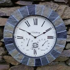 slate effect garden wall clock thermometer humidity indoor outdoor 35cm 1 of 1free see more