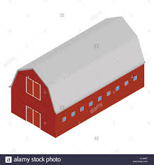 vector ilration isometric 3d perspective old red barn or farm house barn door farming architecture