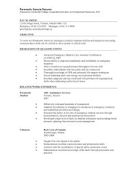 Paramedic Resume Objective Paramedic Resume Examples Examples of Resumes 1