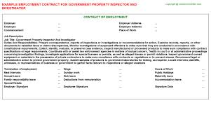 Government Property Inspector And Investigator Employment Contract ...