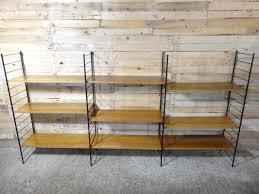 mid century modern large teak metal wall shelving unit
