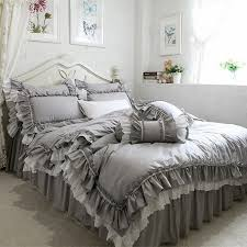 whole new european grey bedding set big ruffle lace duvet cover bedding wrinkle bedspread bed sheet for wedding decorative bed clothes comforter sets