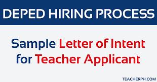 Intent Letter Sample For School Sample Letter Of Intent For Teacher Applicant Teacherph