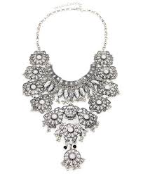 indian style statement necklace with flower pendant beads