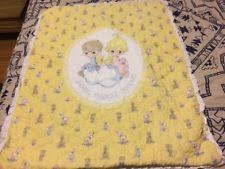 Precious Moments Crib Quilts | eBay & Vintage Precious Moments Yellow Baby Quilt Sharing Crib Adamdwight.com