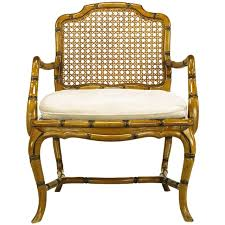 bamboo form cabriole leg cane back armchair for