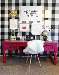 cheap design spring interior feminine buffalo checkered gingham checkered wall black white wallpaper diy tutorial spring black and white office decor