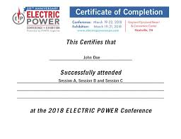 Certification Of Completion Electric Power 2018