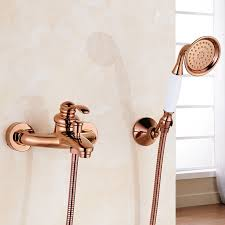 rose gold polished single handle wall installation bathtub faucet with handheld shower jpg